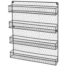 4 Tier Country Rustic Chicken Wire Pantry, Cabinet or Wall Mounted Spice  Rack Storage Organizer | Cool Kitchen Gifts