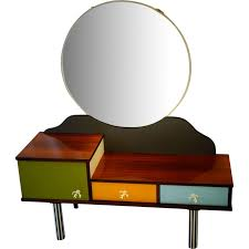 dressing table in multicolored wood and metal with round mirror 1960s