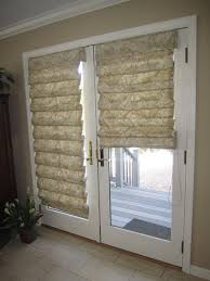 hobbled roman shades on french doors traditional family room