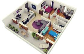 3 Bedroom And 2 Bathroom House Plans 3D View Free 3 D Designs Here ...
