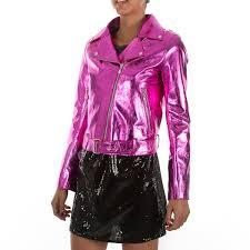 metallic hot pink fuchsia women lamb leather biker jacket