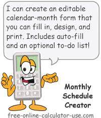 Schedule Creator Online Monthly Schedule Creator Fill In Printable Calendar Pages