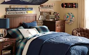 Older Boys Room Snowboarding Theme Blue Dark Wood