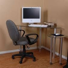 image of glass corner desk design