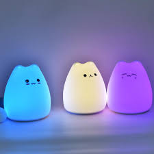 Cat Shaped Night Light Us 3 99 35 Off Lumiparty Mini Cute Cartoon Cat Shaped Pat Light Lamp Soft Silicone Nightlight For Kids Toy Gifts Room Decor In Led Night Lights From