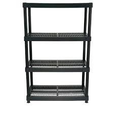 hdx storage shelves in h x in w x in d 4 shelf plastic ventilated storage shelving unit