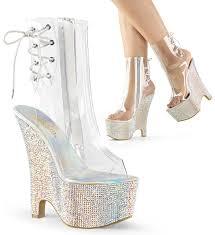 Pink Pleaser Shoes New York Pleaser Heel Platform Open Toe