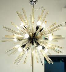 mid century sputnik chandelier golden glass rods alberto donà furnace