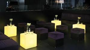 outdoor table lighting ideas. led outdoor restaurant lihghting design with small cube dining table and suede ottomans over black lighting ideas