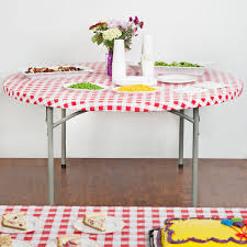 round red gingham plastic table cover image preview