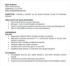 Resume For Security Guards Cv Samples Guard – Creer.pro