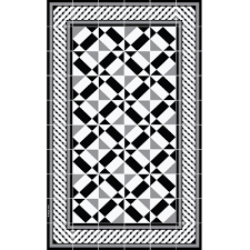 beija flor bauhaus floor mat in black and white png mat black and white