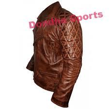 biker style classic men diamond brown leather jacket