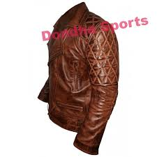 biker style classic men diamond brown leather jacket