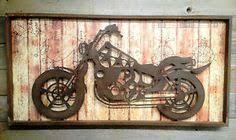 vintage motorcycle metal wall art