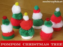 Pompom Christmas Tress  Learning 4 KidsCute Easy Christmas Crafts