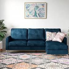 chapman corner velvet sofa bed in blue