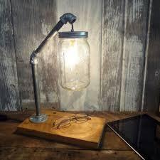 primitive lighting fixtures. Rustic Industrial Chic Desk Lamp Barnwood Pipe Mason Jar Light Primitive Housewares Lighting Office Fixtures