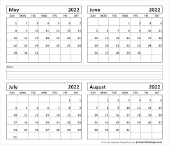 calendar for the month of may printable blank four month may june july august 2022 calendar template