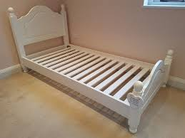 childrens single bed white wooden headboard low junior frame full size single mattress