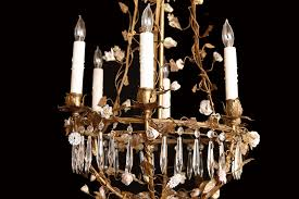 french louis xv style foliate chandelier with porcelain flowers crystals c 1880
