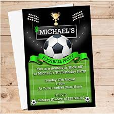 Soccer Party Invite 10 Personalised Boys Football Soccer Party Invitations N108