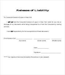 Liability Waiver Form Template Free Release Of Liability Form Template 8 Free Sample Example