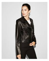 express black faux leather collarless moto jacket lyst