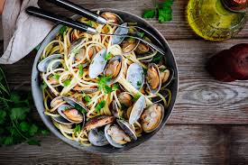 Traditional italian seafood pasta with ...