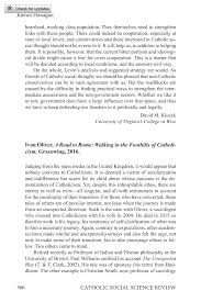 Ivan Oliver, A Road to Rome: Walking in the Foothills of Catholicism -  Kieran Flanagan - Catholic Social Science Review (Philosophy Documentation  Center)