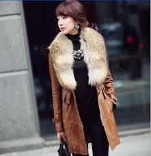 real rac fur collar winter water washed pu leather jacket women coat long slim detachable women s fur coat female jackets