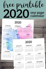 2020 Year At A Glance Calendar Template Calendar 2020 Printable One Page Calendar 2020 Paper