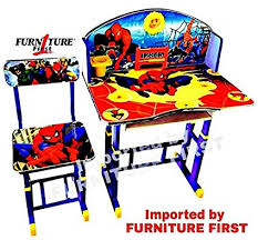 Image Study Table Furniture First Spiderman Melamine Graphics And Glossy Lamination Kids Study Table Chair Set For Kids Amazonin Furniture First Spiderman Melamine Graphics And Glossy Lamination