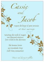 Blue Bronze Wedding Invitation