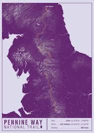 Pennine Way Distance Chart Pennine Way National Trail Map Print