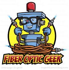 cartoon robot character logo fiber optic geek by george coghill