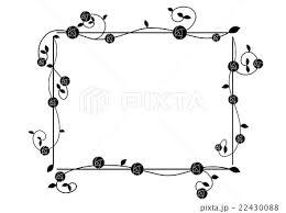 四角いバラのフレーム モノクロのイラスト素材 22430088 Pixta