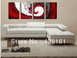 handmade 4 piece black white red abstract wall art oil painting on canvas large pictures for on red black white wall art with handmade 4 piece black white red abstract wall art oil painting on