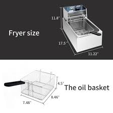 electric countertop deep fryer tank basket commercial restaurant 2500w 6 liter
