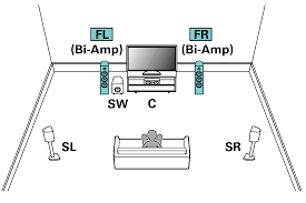 "speaker configuration and ""amp assign"" settings avr x4100w pict sp layout 5 1 biamp"