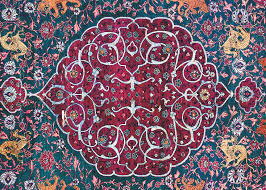 salting rug detail qazvin central persia ca 1550 1565 wool pile on a silk foundation with silverwrapped silk thread 1 65 x 2 33 m 5 5 x 7 8