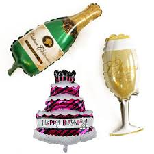 2019 Appy Birthday Foil Balloons Big Cake Champagne Cup Beer Bottle