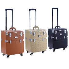 rolling makeup case carry on storage travel luge box trolley cosmetic box 3 colors 2016 new type