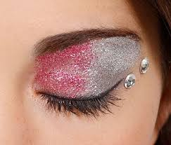 pretty in pink glitterbug makeup look pink and silver eye glitter with rhinestones