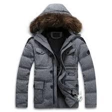 detachable hooded white duck down coat real fur collar down jacket men
