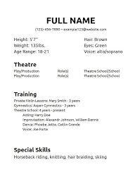 sample musical theatre resume examples theatre resume template sample musical theatre resume