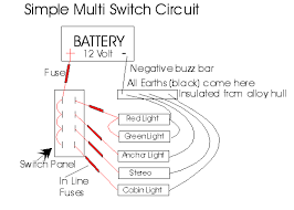 simple multi switch circuit with battery and in line fuses wiring marine rocker switch panel wiring diagram simple multi switch circuit with battery and in line fuses