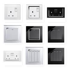 RetroTouch Black White Glass Rocker Light Switches + Plug Sockets Single  Double