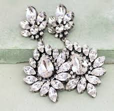 bridal crystal earrings bridal statement chandelier earrings swarovski crystal chandelier earrings victorian style bridal swarovski earrings