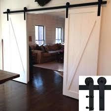 10 ft barn door hardware 5 basic double single barn door hardware track kit straight black 10 ft barn door